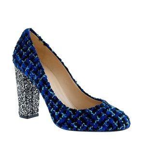 J Crew Etta Tweed Glitter Pumps Shoes